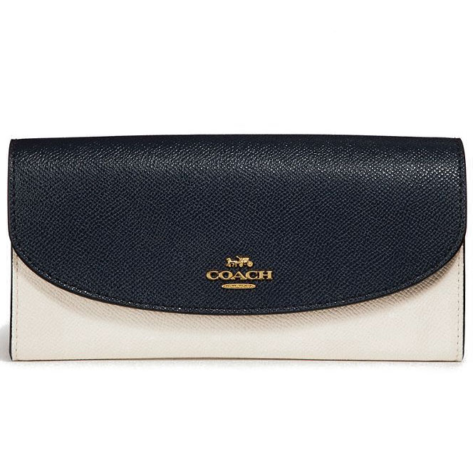 Coach Slim Envelope Wallet In Colorblock Midnight Blue / Chalk White / Light Gold # F26457