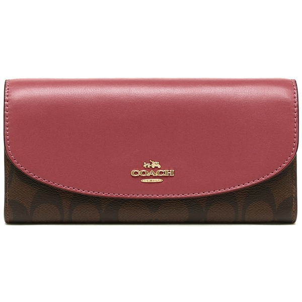 Coach Slim Envelope Wallet In Signature Brown / Rouge / Gold # F54022
