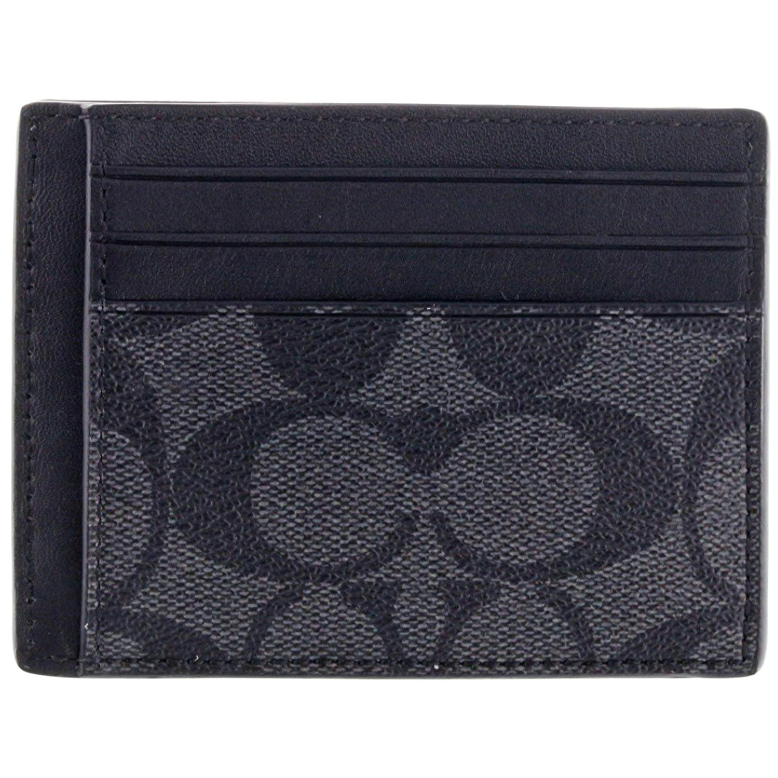 Coach Slim Id Card Case In Signature Charcoal / Black # F75027