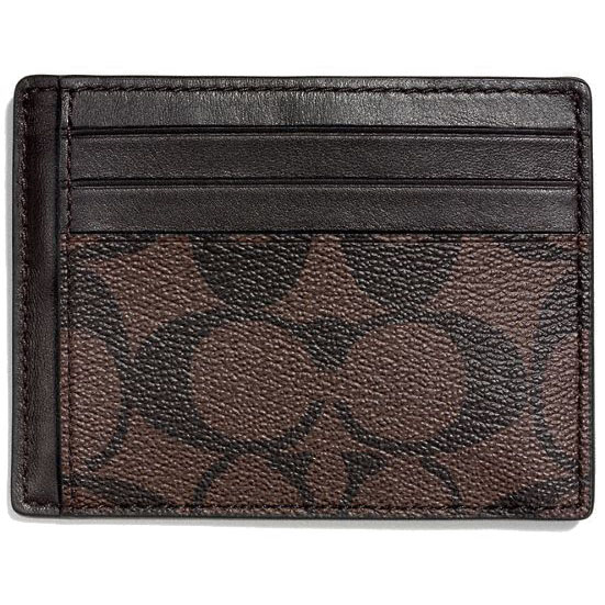 Coach Slim Id Card Case In Signature Mahogany / Brown # F75027