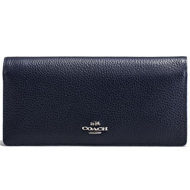 Coach Slim Wallet In Edgestain Leather Navy Blue # 21049