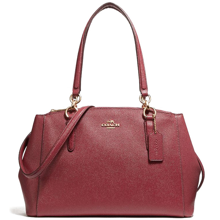 Coach Small Christie Carryall In Crossgrain Leather Light Gold / Crimson # F57520