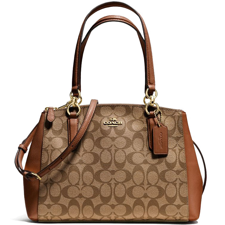 Coach Small Christie Carryall In Signature Gold / Khaki / Saddle Brown # F58291