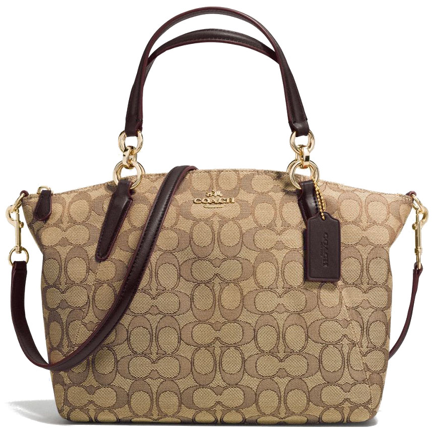 Coach Small Kelsey Satchel In Outline Signature Gold / Khaki / Brown # F58283