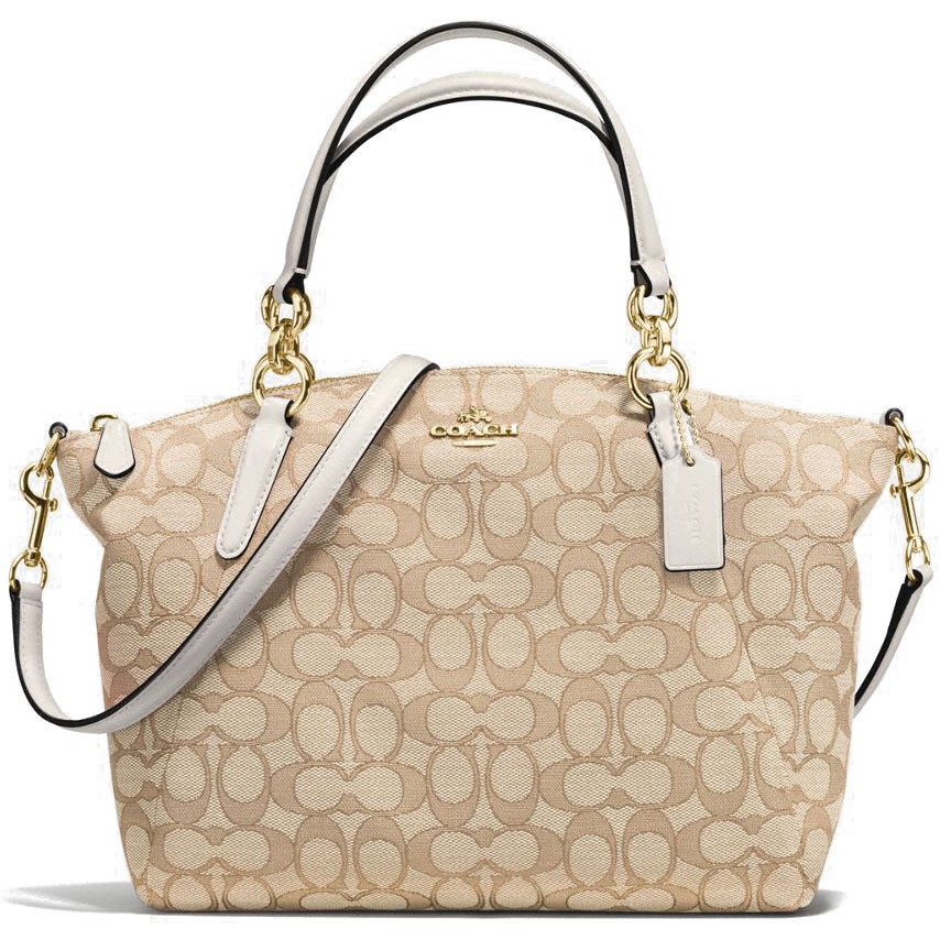 Coach Small Kelsey Satchel In Outline Signature Light Khaki Brown / Chalk White # F58283