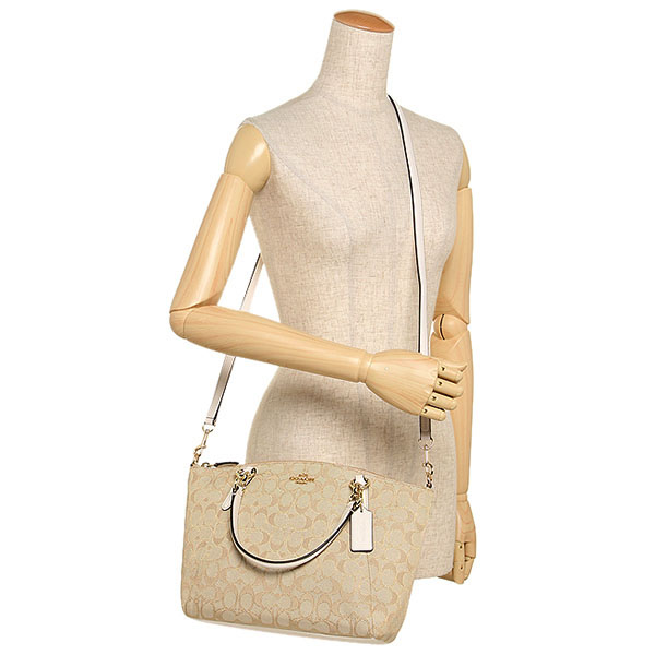 420a244346ba ... sale coach small kelsey satchel in outline signature light khaki brown  chalk white f58283 d5aca d9458 cheap ...