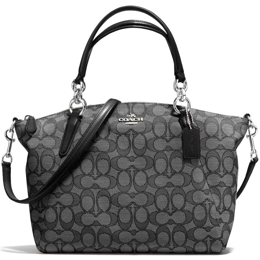 Coach Small Kelsey Satchel In Outline Signature Silver / Black Smoke / Black # F58283