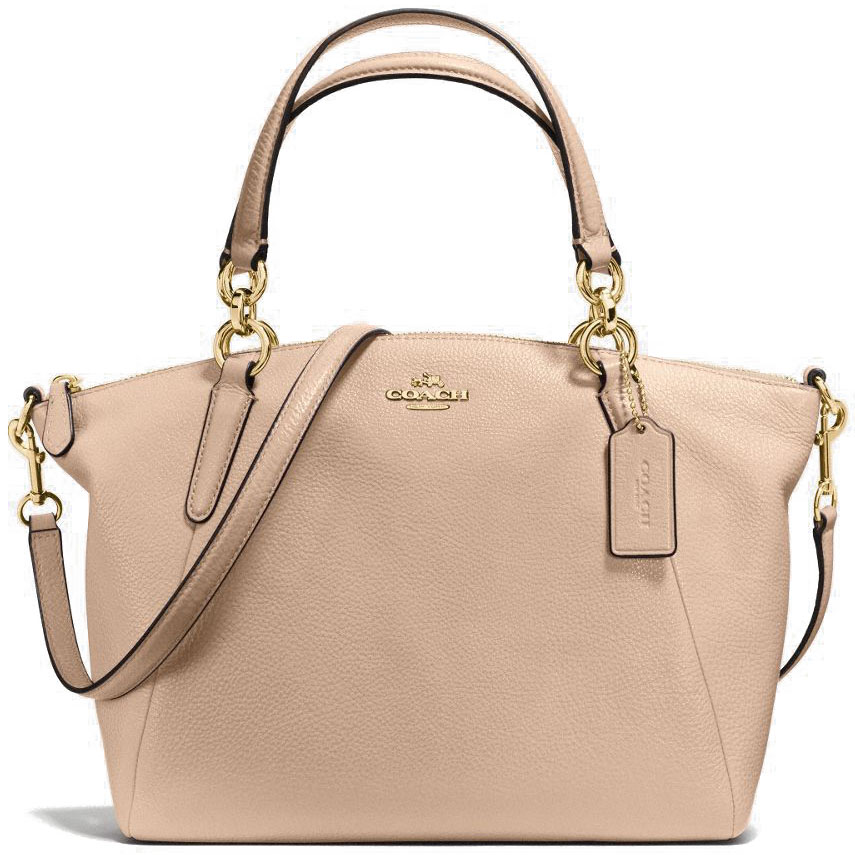 Coach Small Kelsey Satchel In Pebble Leather Gold / Beechwood Nude Beige # F36675