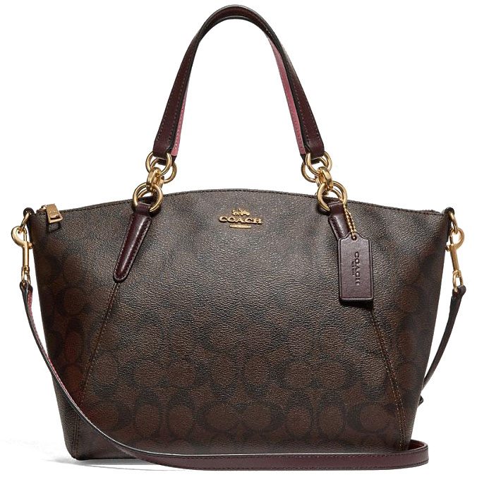 Coach Small Kelsey Satchel In Signature Canvas Brown / Oxblood / Gold # F28989