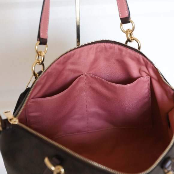 76e2996d5085 Coach Small Kelsey Satchel In Signature Canvas Brown   Oxblood   Gold    F28989