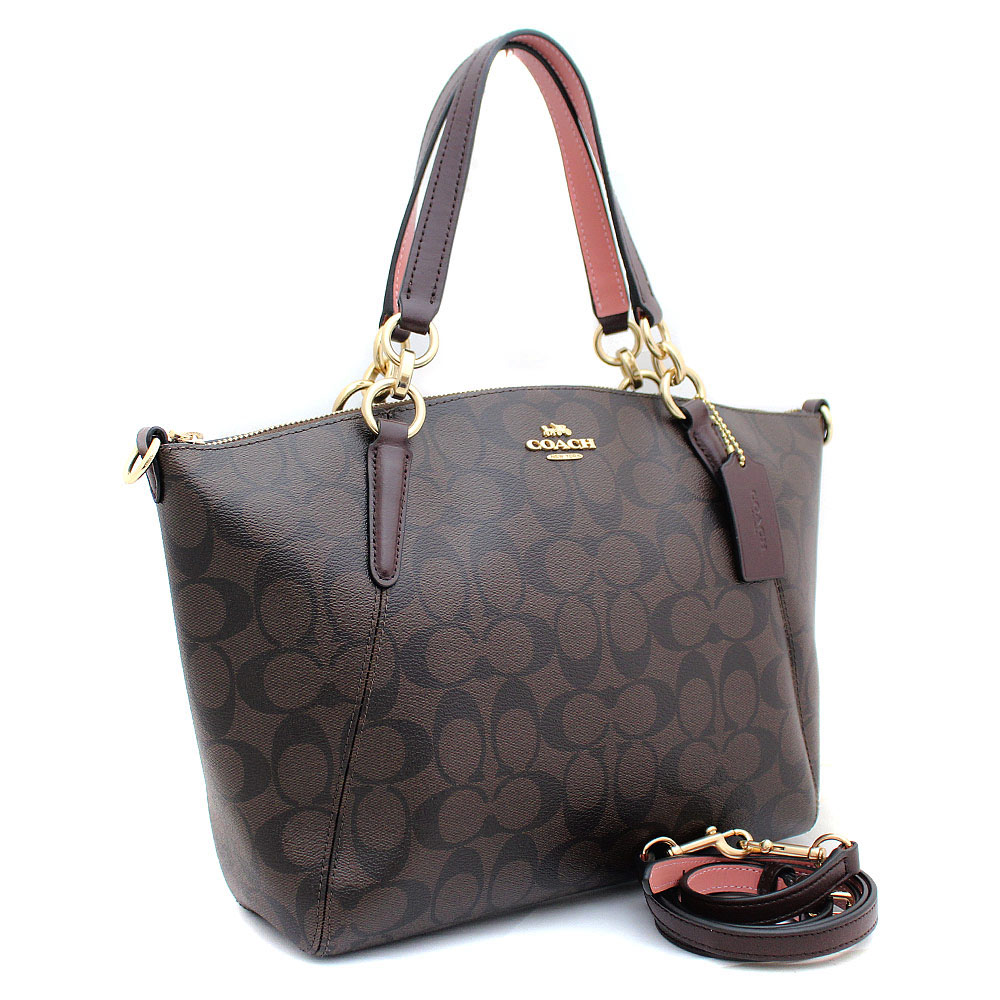 e5cade92740a Coach Small Kelsey Satchel In Signature Canvas Brown   Oxblood   Gold    F28989