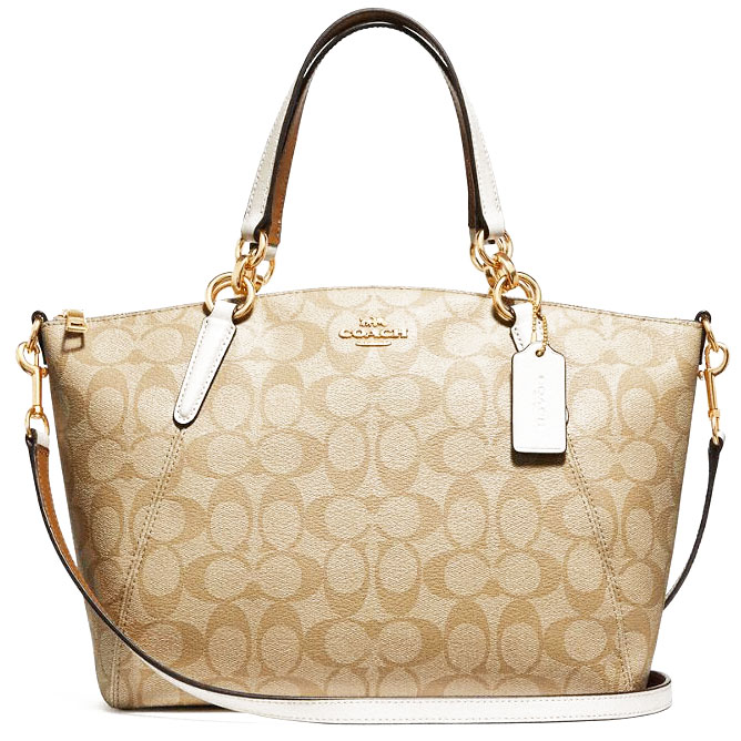 Coach Small Kelsey Satchel In Signature Canvas Light Khaki / Chalk / Gold # F28989