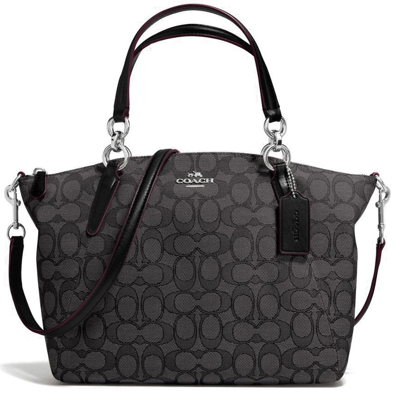 Coach Small Kelsey Satchel In Signature Crossbody Bag Smoke Black / Silver # F36625
