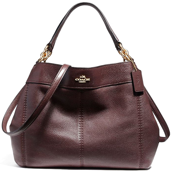 Coach Small Lexy Shoulder Bag Gold / Oxblood 1 # F23537