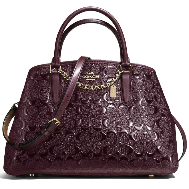 Coach Small Margot Carryall In Signature Debossed Patent Leather Gold / Oxblood # F55451
