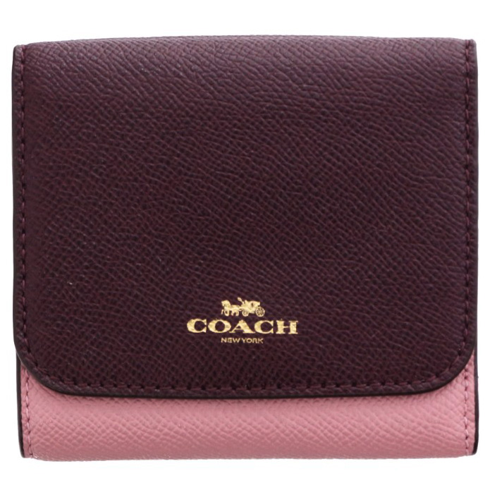 Coach Small Wallet In Geometric Colorblock Crossgrain Leather Gold / Strawberry / Oxblood Multi # F57825