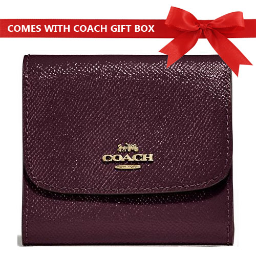 Coach Small Wallet In Gift Box Oxblood Purple / Gold # F31960