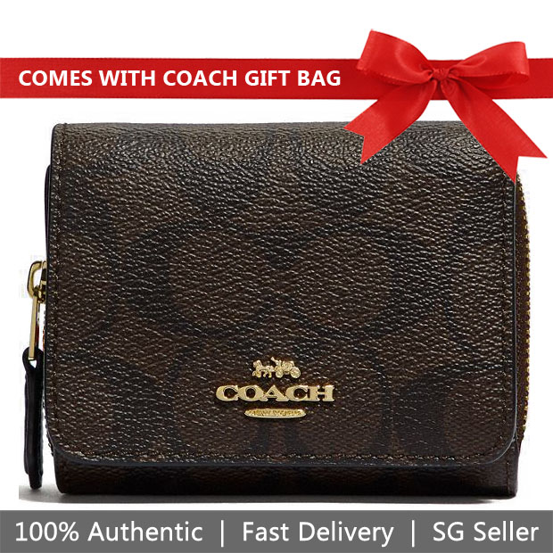 Coach Small Wallet In Gift Box Small Trifold Wallet In Signature Canvas Brown / Black # F41302
