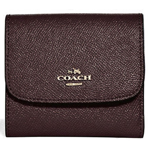 Coach Small Wallet In Glitter Crossgrain Leather Light Gold / Oxblood 1 # F15622