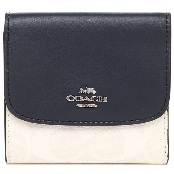 Coach Small Wallet In Signature Canvas Chalk White / Midnight Navy / Silver # F87589