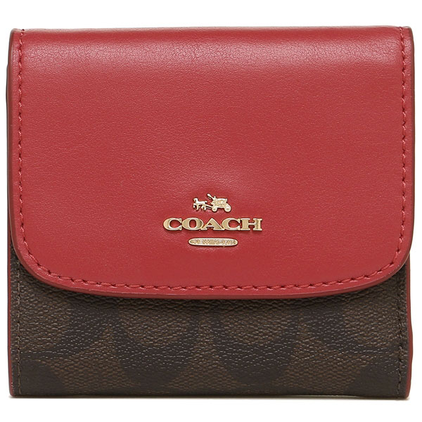 Coach Small Wallet In Signature Coated Canvas Brown / True Red # F87589