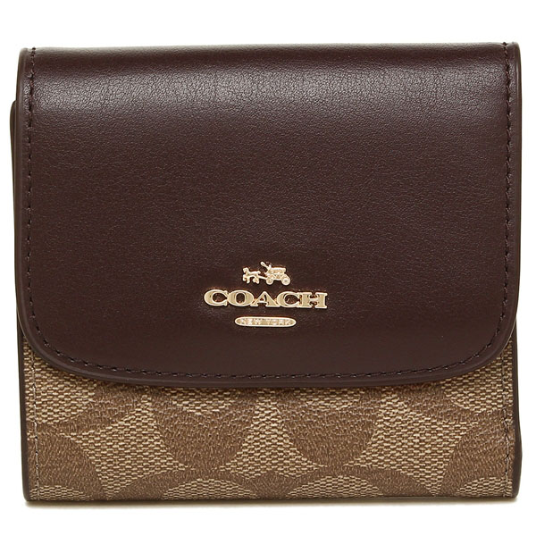 Coach Small Wallet In Signature Coated Canvas Khaki Oxblood Glitter # F87589