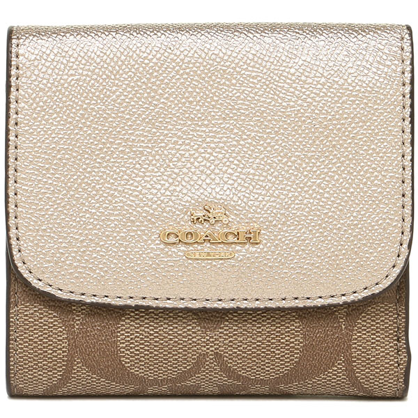 Coach Small Wallet In Signature Coated Canvas Khaki Platinum # F87589