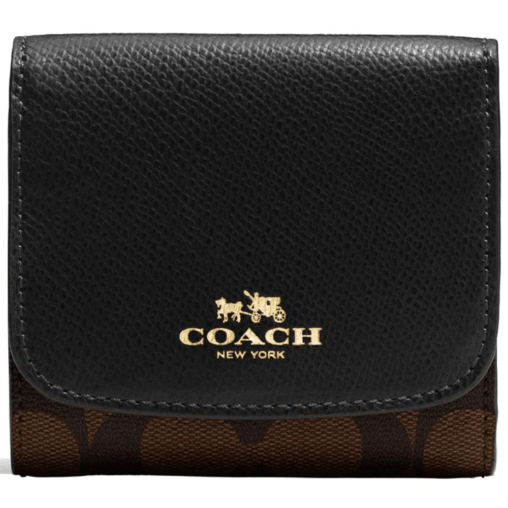 Coach Small Wallet In Signature Gold / Brown / Black # F53837