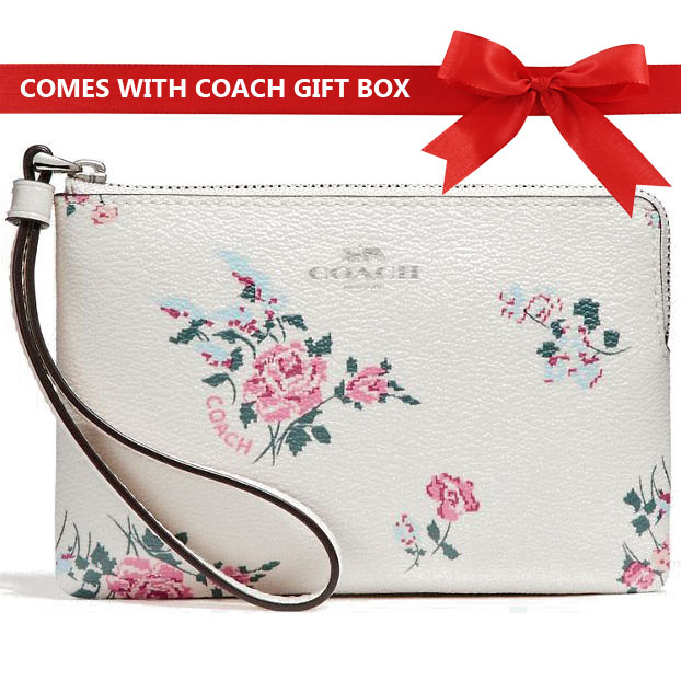 Coach Small Wristlet In Gift Box Corner Zip With Cross Stitch Floral Print Chalk White Multi / Silver # F26217