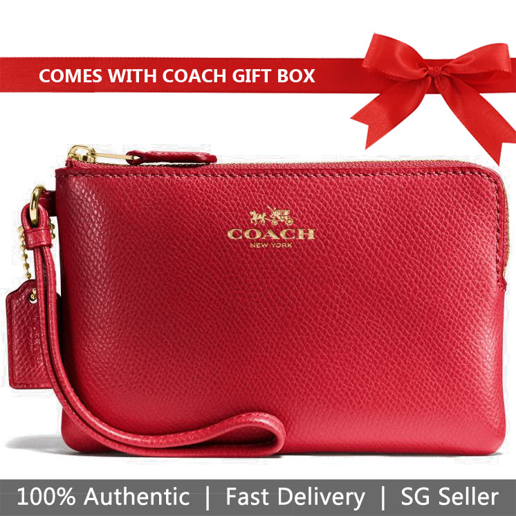 Coach Small Wristlet In Gift Box Corner Zip Wristlet In Crossgrain Leather True Red / Gold # F54626