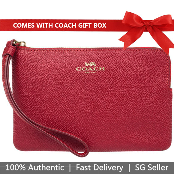 Coach Small Wristlet In Gift Box Corner Zip Wristlet In Crossgrain Leather True Red / Gold # F58032