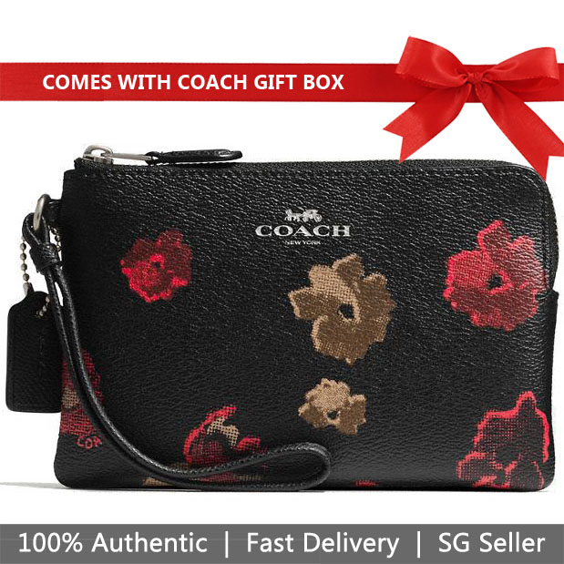 Coach Small Wristlet In Gift Box Corner Zip Wristlet In Halftone Floral Print Coated Canvas Antique Nickel / Black Multi # F55824