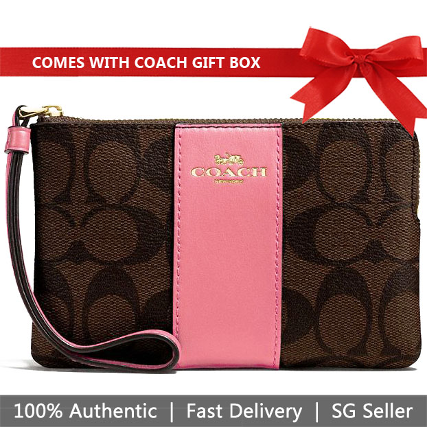 Coach Small Wristlet In Gift Box Corner Zip Wristlet In Signature Canvas Brown / Peony Pink / Gold # F58035