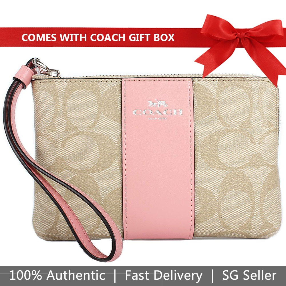 Coach Small Wristlet In Gift Box Corner Zip Wristlet In Signature Canvas Light Khaki / Vintage Rose Pink # F58035