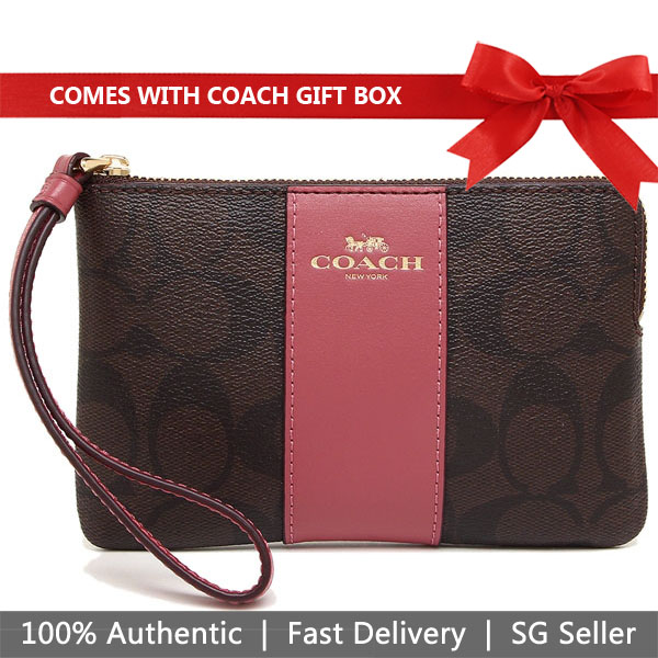 Coach Small Wristlet In Gift Box Corner Zip Wristlet In Signature Coated Canvas With Leather Stripe Brown / Rouge Pink # F58035