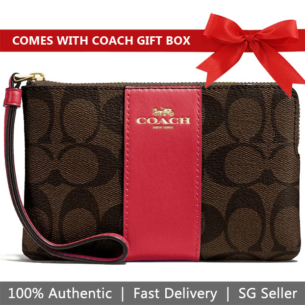 Coach Small Wristlet In Gift Box Corner Zip Wristlet In Signature Coated Canvas With Leather Stripe Brown / True Red / Gold # F58035