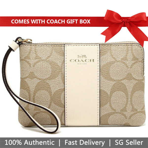 Coach Small Wristlet In Gift Box Corner Zip Wristlet In Signature Coated Canvas With Leather Stripe Light Khaki / Chalk White / Gold # F58035