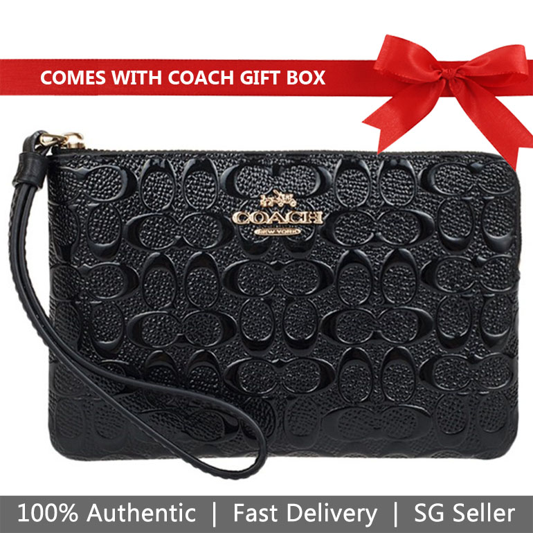 Coach Small Wristlet In Gift Box Corner Zip Wristlet In Signature Debossed Patent Leather Black # F58034