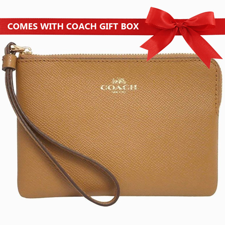 Coach Small Wristlet In Gift Box Corner Zip Wristlet Light Saddle Brown / Gold # F58032