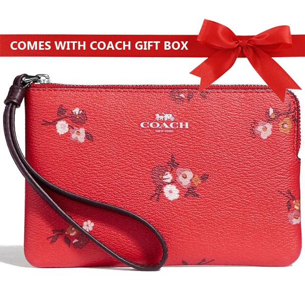 8dbfb89b5acf Coach Small Wristlet In Gift Box Corner Zip Wristlet With Baby Bouquet  Print Bright Red Multi