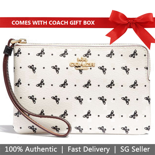 Coach Small Wristlet In Gift Box Corner Zip Wristlet With Butterfly Dot Print Chalk White / Black # F31244