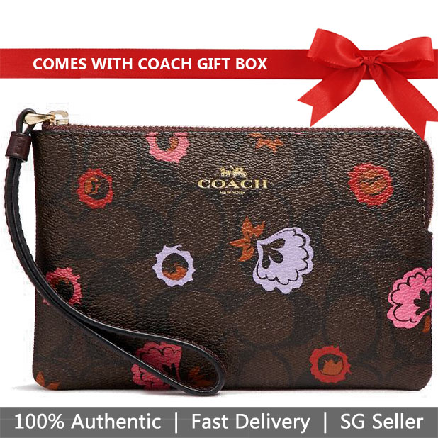 Coach Small Wristlet In Gift Box Corner Zip Wristlet With Primrose Floral Signature Print Brown # F24380