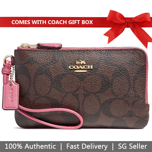 Coach Small Wristlet In Gift Box Double Corner Zip Wallet In Signature Coated Canvas Brown / Rouge Pink / Gold # F87591