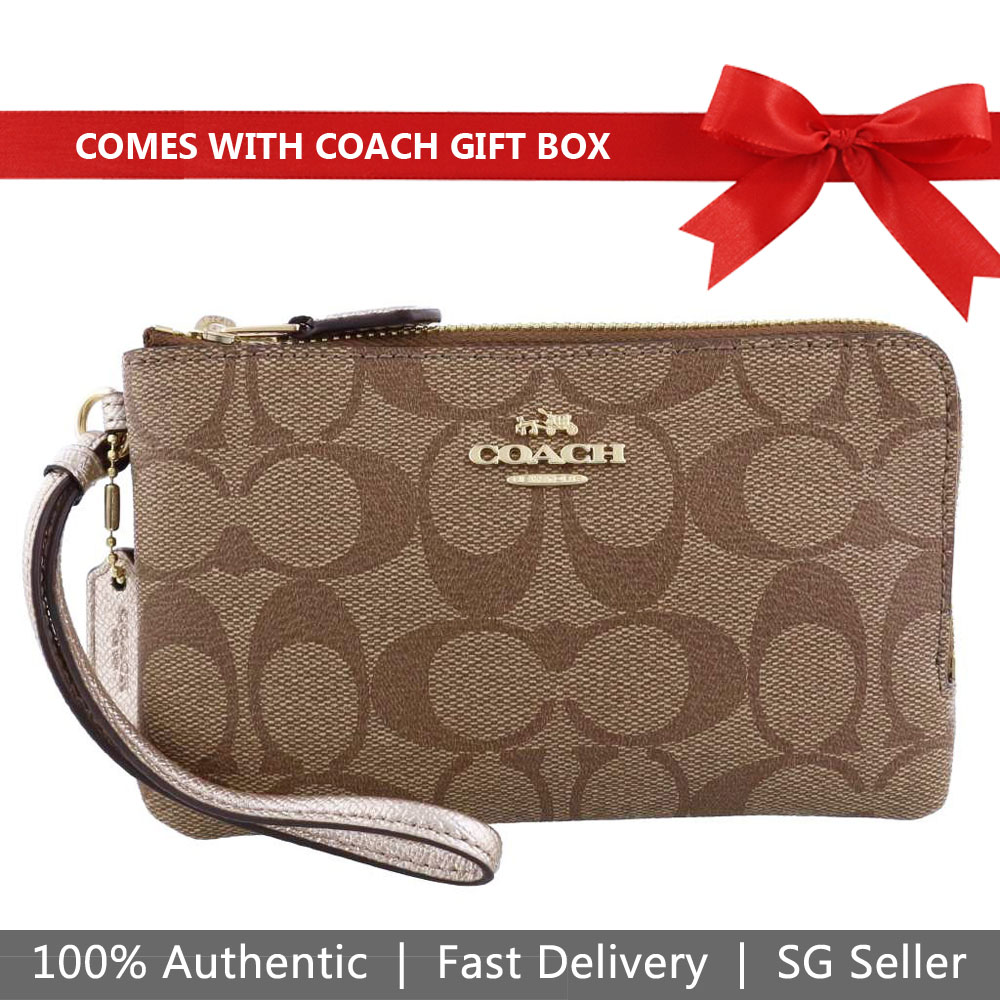 Coach Small Wristlet In Gift Box Double Corner Zip Wallet In Signature Coated Canvas Khaki / Platinum # F87591