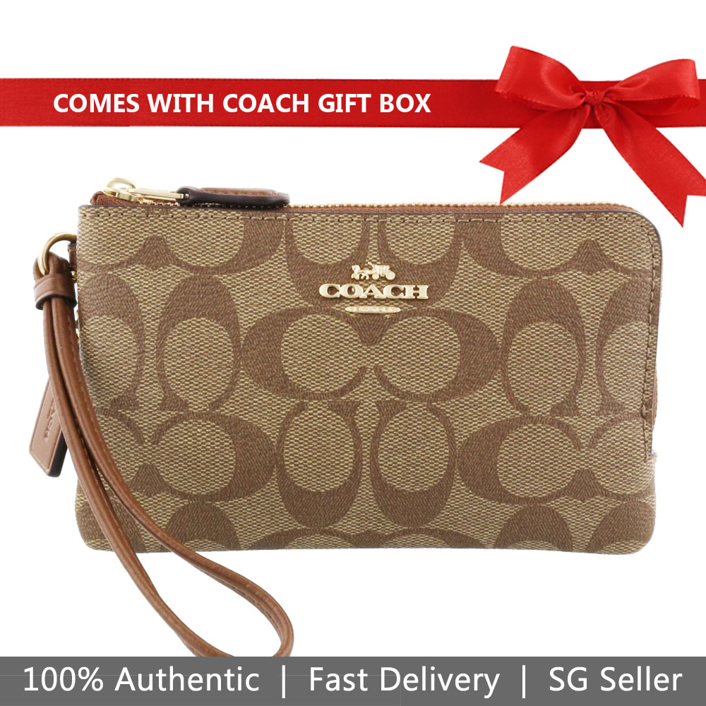 Coach Small Wristlet In Gift Box Double Corner Zip Wallet In Signature Coated Canvas Khaki / Saddle Brown # F87591