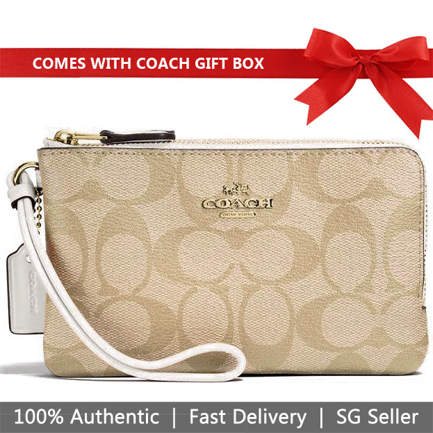 Coach Small Wristlet In Gift Box Double Corner Zip Wallet In Signature Coated Canvas Light Khaki / Chalk White # F87591