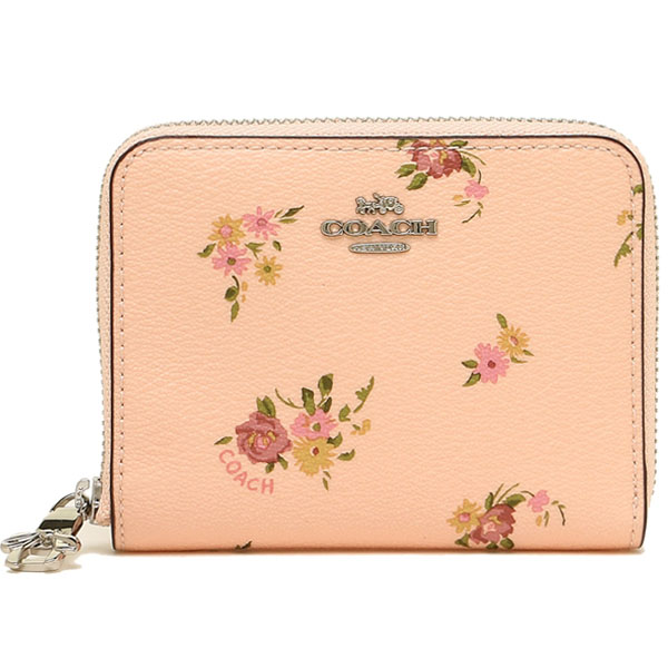 Coach Small Zip Around Wallet With Daisy Bundle Print And Bow Zip Pull Light Pink Multi / Silver # F29449