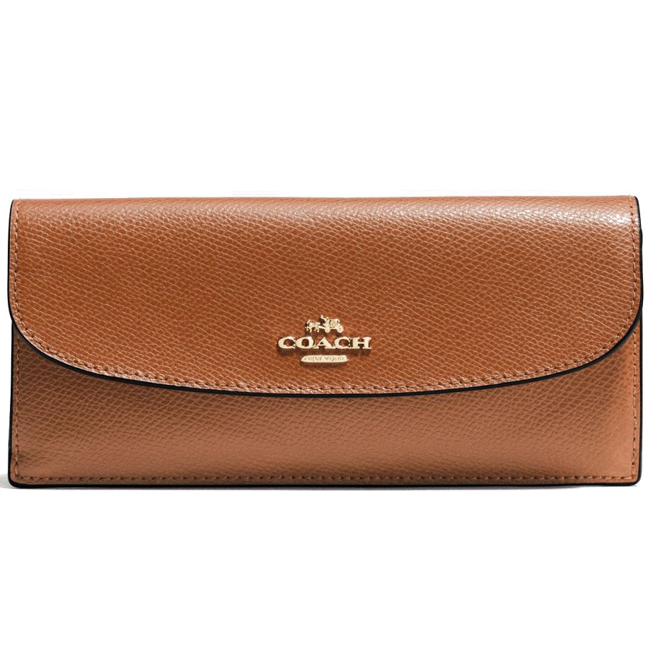 a610050b4615 Coach Soft Wallet In Crossgrain Leather Gold   Saddle Brown   F54008
