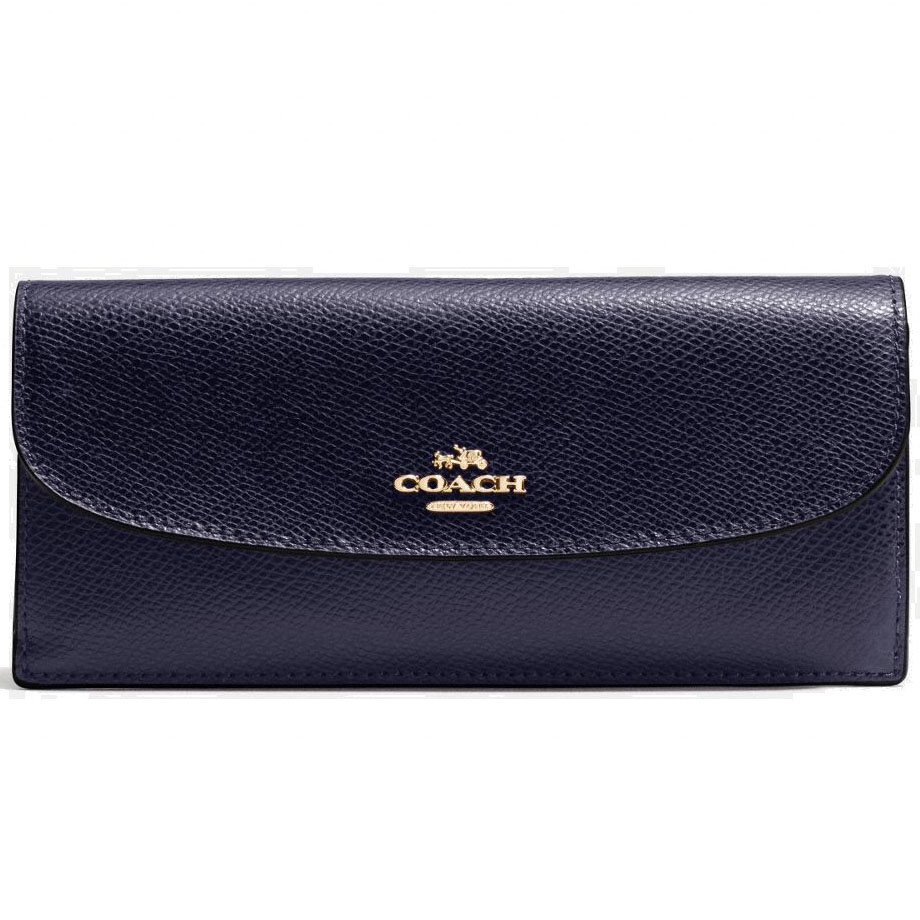Coach Soft Wallet In Crossgrain Leather Midnight Navy Blue # F54008