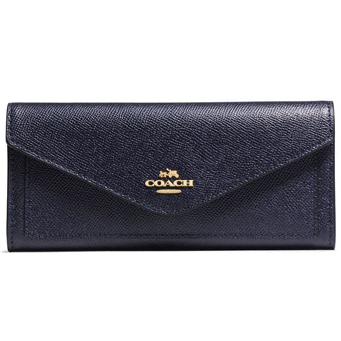 Coach Soft Wallet In Crossgrain Leather Navy # 57715